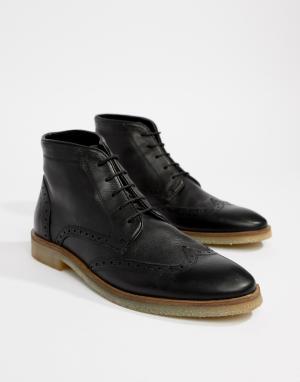 Черные кожаные броги с натуральной подошвой ASOS DESIGN. Цвет: черный