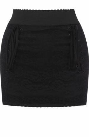 Мини-юбка с широким поясом и шнуровкой Dolce & Gabbana. Цвет: черный