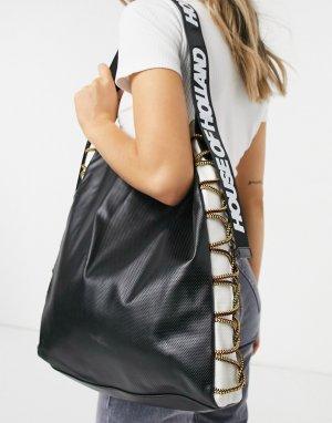 Черная сумка с отделкой шнурком -Черный цвет House of Holland