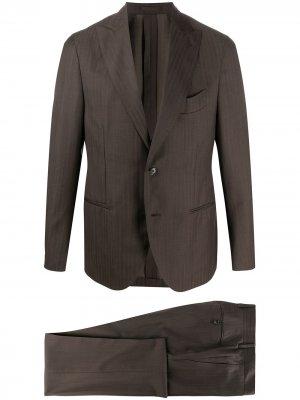 Delloglio полосатый костюм с однобортным пиджаком Dell'oglio. Цвет: коричневый