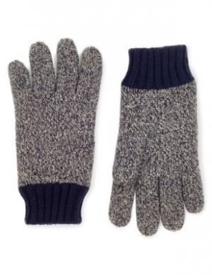 Вязаные перчатки Thinsulate™ с контрастными манжетами M&S Collection. Цвет: морской микс
