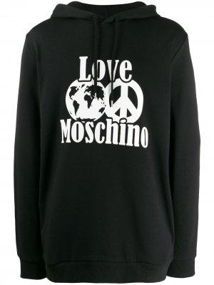 Толстовка с принтом Love Moschino. Цвет: черный
