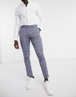 Синие зауженные брюки в клетку от костюма -Голубой New Look