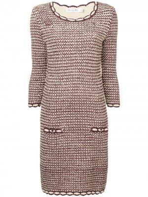 Платье с круглым вырезом и длинными рукавами Christian Dior. Цвет: красный