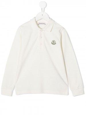 Рубашка поло с длинными рукавами и логотипом Moncler Kids. Цвет: белый