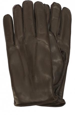 Кожаные перчатки с кашемировой подкладкой Dolce & Gabbana. Цвет: темно-коричневый