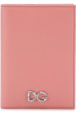 Кожаная обложка для паспорта Dolce & Gabbana. Цвет: розовый