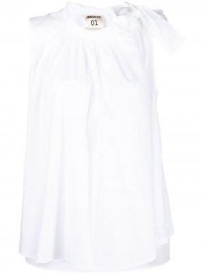 Блузка без рукавов с бантом Semicouture. Цвет: белый