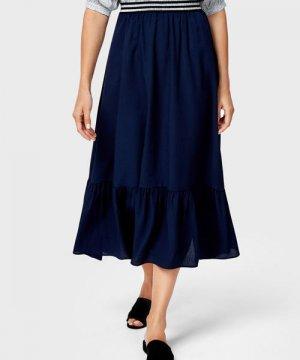 Шифоновая юбка макси O`Stin. Цвет: темно-синий