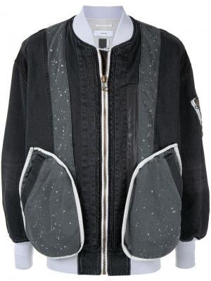 Джинсовая куртка-бомбер в технике пэчворк Facetasm. Цвет: черный