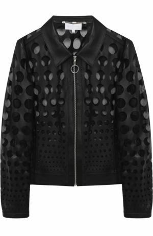 Кожаная куртка на молнии с перфорацией Escada Sport. Цвет: черный