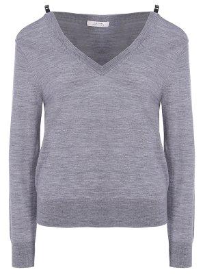 Пуловер с открытыми плечами DOROTHEE SCHUMACHER. Цвет: серый