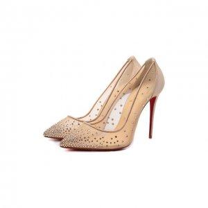 Текстильные туфли Follies Strass 100 Christian Louboutin. Цвет: бежевый
