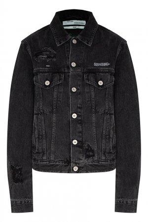 Джинсовая куртка с прорезями Off-white. Цвет: черный