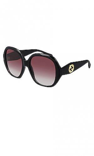 Солнцезащитные очки oval logo Gucci. Цвет: черный