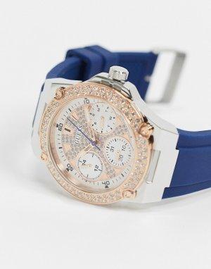 Часы с хронографом и белым циферблатом -Голубой Guess