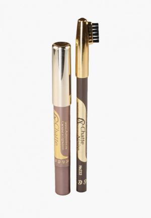 Набор для макияжа бровей Chatte Noire Карандаш + Карандаш-тени №103, 2,85. Цвет: коричневый