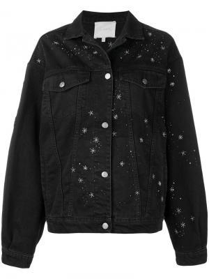 Джинсовая куртка с вышивкой Amen. Цвет: черный