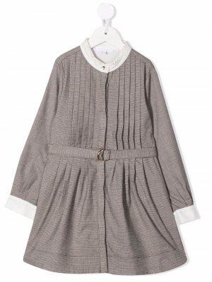 Плиссированное платье в клетку Chloé Kids. Цвет: нейтральные цвета