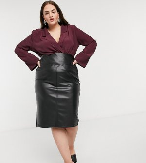 Блузка винного цвета с длинными рукавами, запахом и подплечниками Curve-Красный ASOS DESIGN