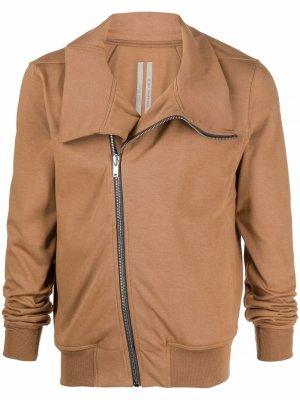 Куртка на молнии с воротником-воронкой Rick Owens. Цвет: коричневый