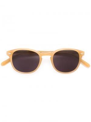 Солнцезащитные очки в квадратной оправе Lesca. Цвет: жёлтый и оранжевый
