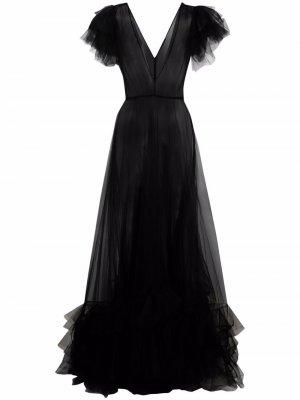 Платье A-силуэта из тюля Jenny Packham. Цвет: черный