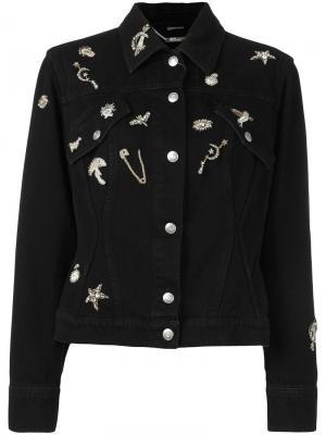 Декорированная джинсовая куртка Alexander McQueen. Цвет: чёрный