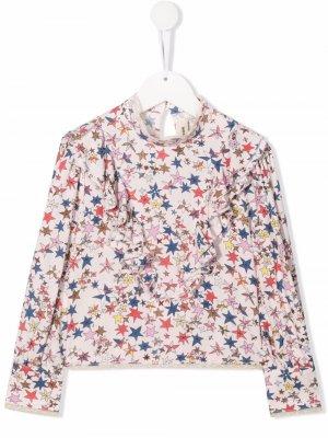 Блузка с оборками и принтом Zadig & Voltaire Kids. Цвет: розовый