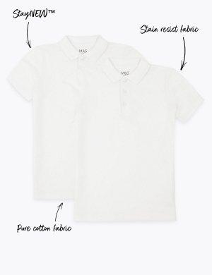Поло из 100% хлопка для мальчика (2 шт) Marks & Spencer. Цвет: белый