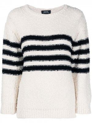 Джемпер с контрастными полосками A.P.C.. Цвет: белый