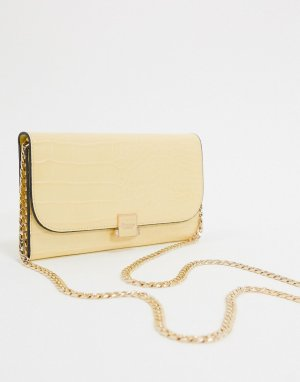 Миниатюрная сумка-кошелек на цепочке с отделкой под кожу крокодила -Желтый Dune