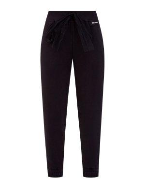 Спортивные брюки с бантом из тюля «пуэн-деспри» REDVALENTINO. Цвет: черный
