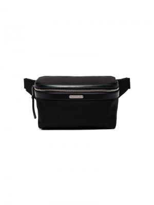 Парусиновая сумка через плечо Saint Laurent. Цвет: черный