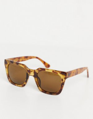Солнцезащитные очки унисекс в квадратной светло-коричневой черепаховой оправе стиле 70-х Nancy-Коричневый цвет A.Kjaerbede