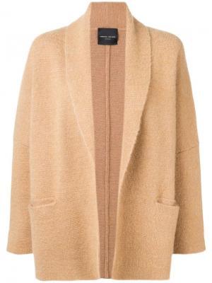 Приталенное пальто с драпировками Roberto Collina. Цвет: коричневый