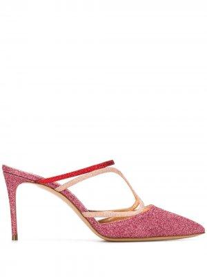 Туфли-лодочки с блестками Casadei. Цвет: розовый