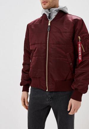 Куртка утепленная Alpha Industries MA-1 D-Tec Puffer OS. Цвет: бордовый