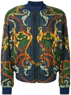 Двусторонняя куртка бомбер с узором Hermès Vintage. Цвет: зелёный