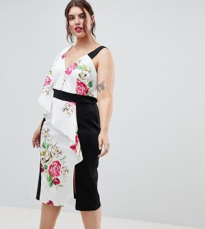 Облегающее платье с цветочным принтом ASOS DESIGN Curve. Цвет: мульти