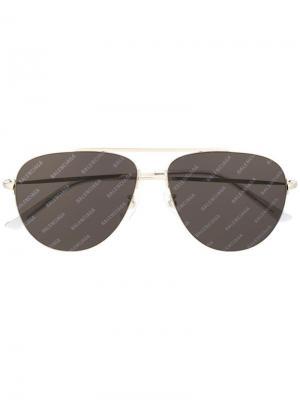 Солнцезащитные очки-авиаторы с логотипом Balenciaga Eyewear. Цвет: серебристый