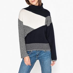 Пуловер с воротником отворотом из оригинального трикотажа GAEL BERENICE. Цвет: темно-синий