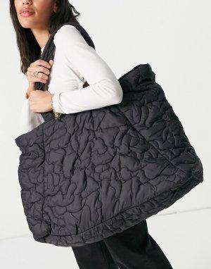 Большая черная стеганая сумка Femme-Черный цвет Selected