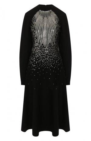 Платье из смеси шерсти и вискозы Givenchy. Цвет: черный