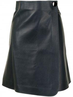 Кожаная юбка pre-owned Céline. Цвет: синий