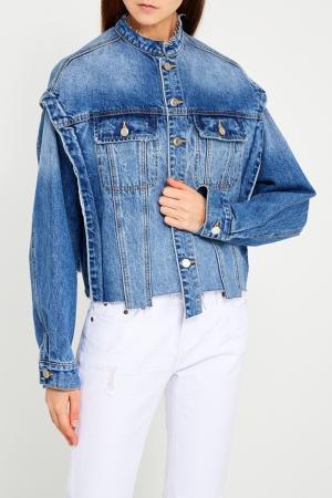 Джинсовая куртка с полосками SJYP. Цвет: голубой