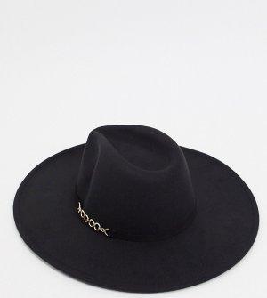 Черная oversized-шляпа федора с цепочкой London-Черный My Accessories