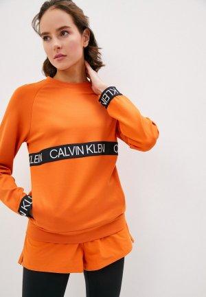 Свитшот Calvin Klein Performance. Цвет: оранжевый