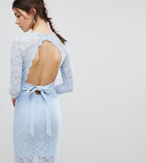 Платье-футляр с длинными рукавами, V-образным вырезом и бантом сзади -Синий City Goddess Tall