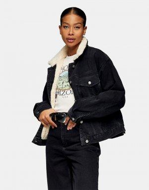 Черная джинсовая куртка в стиле oversized с подкладкой из искусственного меха -Коричневый цвет Topshop